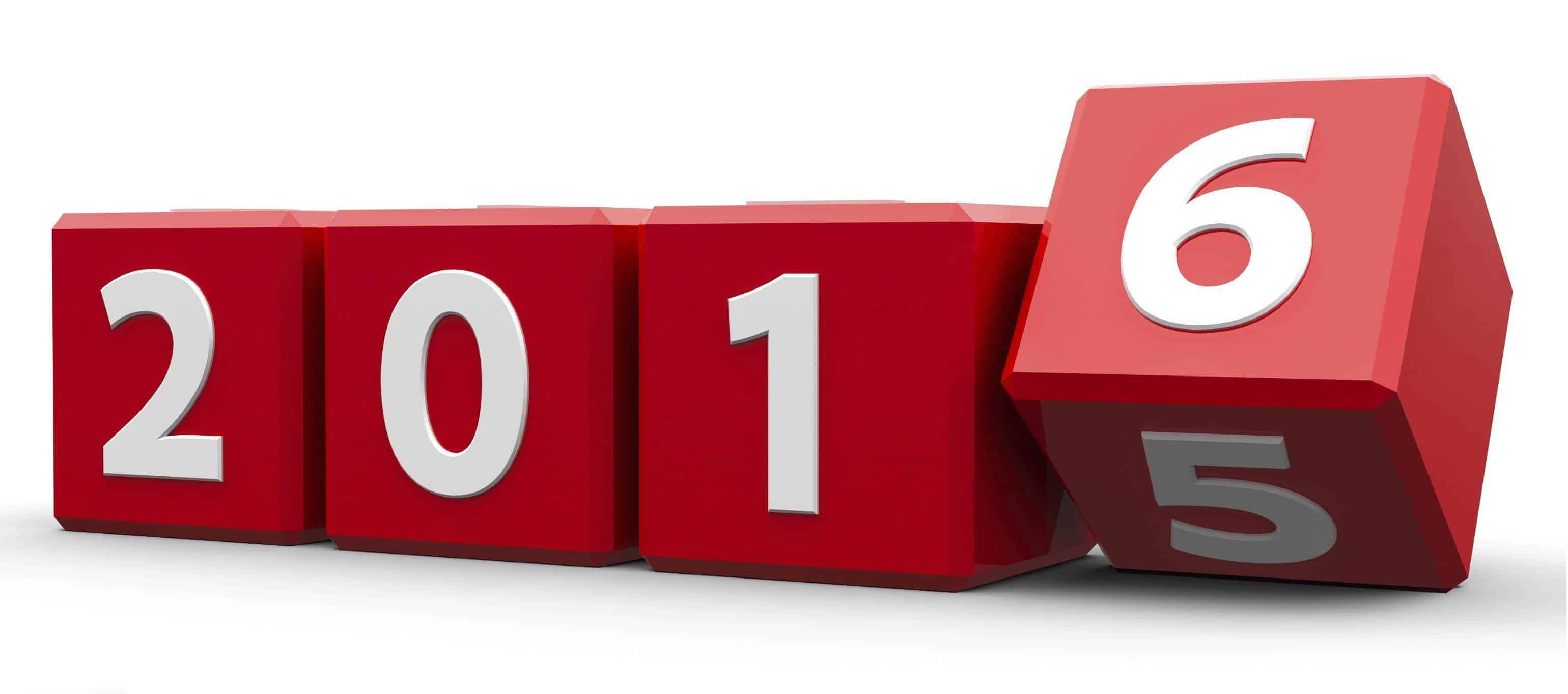 Red cubes with 2015-2016 change on a white table represents the new 2016, three-dimensional rendering