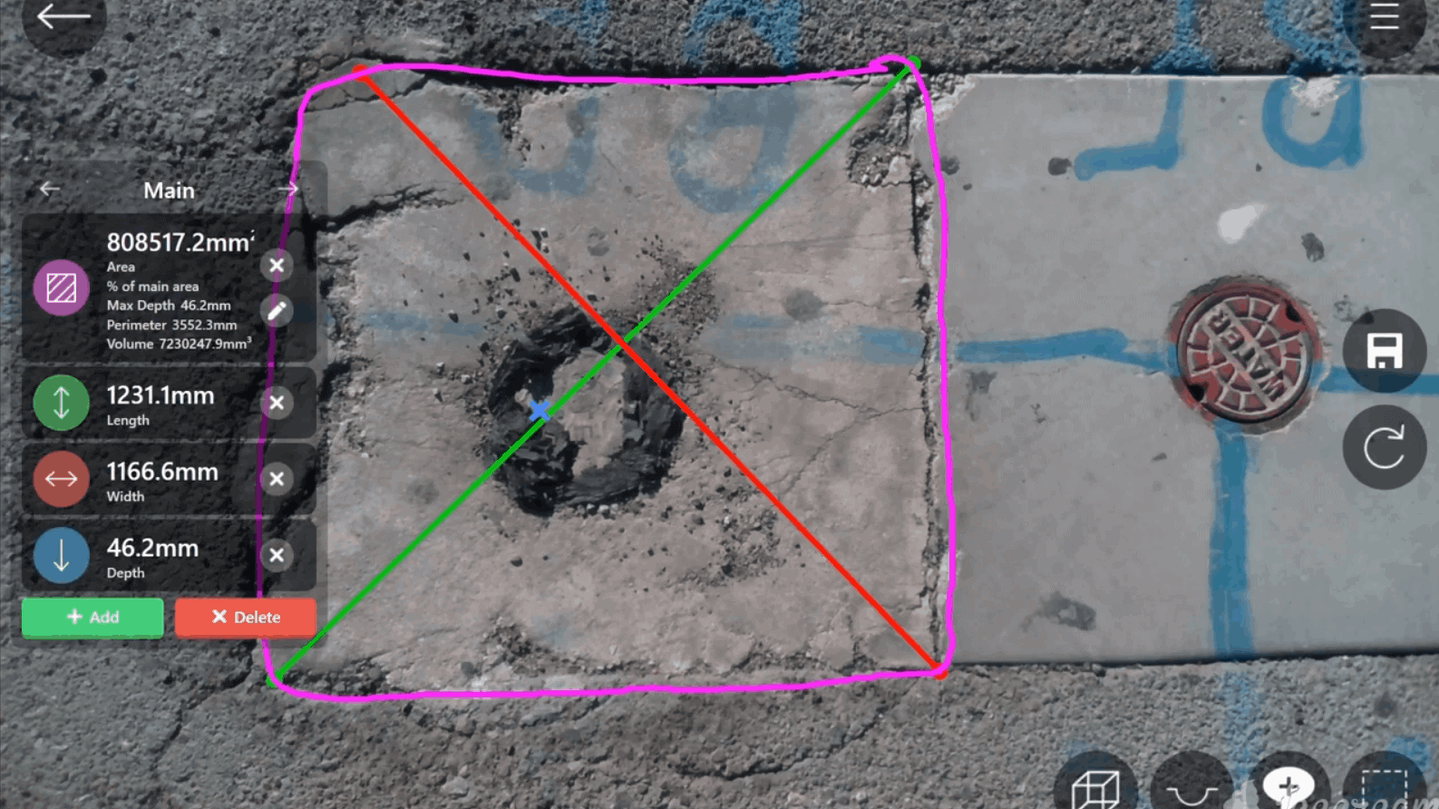 3D Pothole Measurement 5